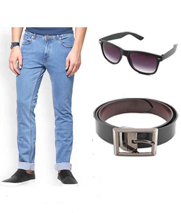 Keepsake Combo Of Mens Jeans With Wayfarer & Belt