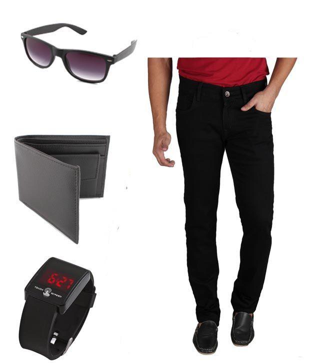Keepsake Combo Of Mens Jeans With Watch, Wallet & Wayfarer