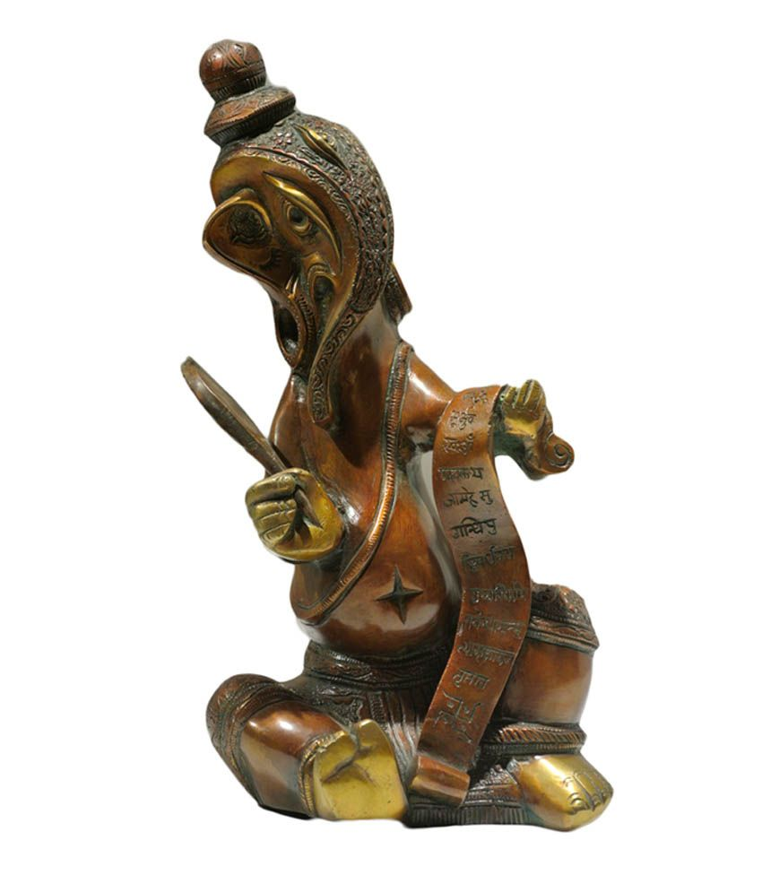 My Thoughts My Thoughts Brown Brass Ganesh Idol Showpiece