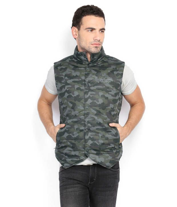 8044f7618df7f Pepe Jeans Green Smart Military Print Sleeveless Jacket - Buy Pepe Jeans  Green Smart Military Print Sleeveless Jacket Online at Best Prices in India  on ...