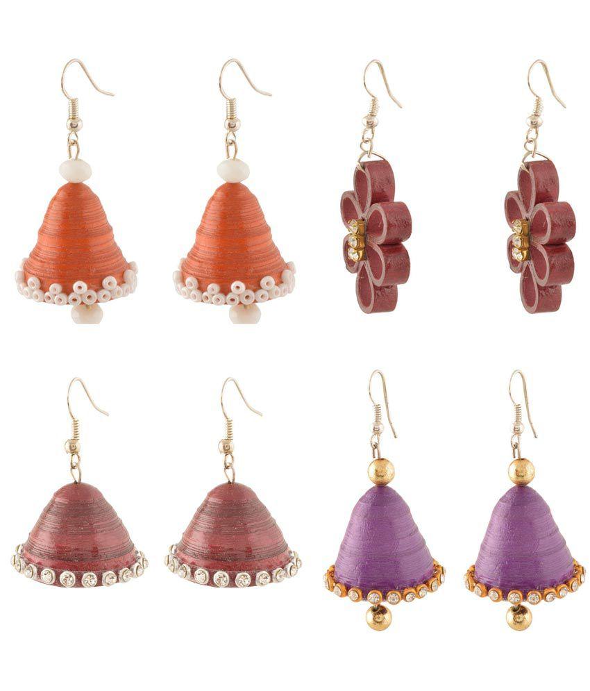 Vaneegam Multicolour Bridal Crystal Festive Combo Earrings - Set Of 2 Pair