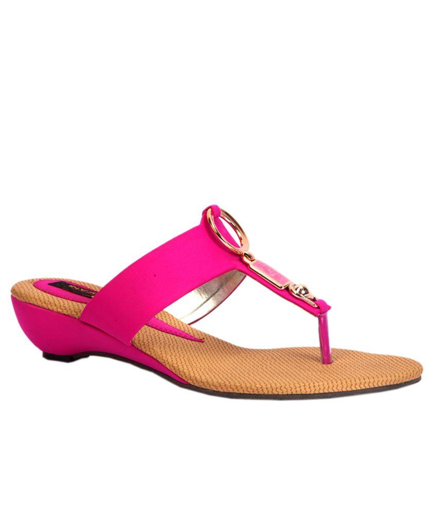 Trilokani Pink Low Heel Slippers For Women