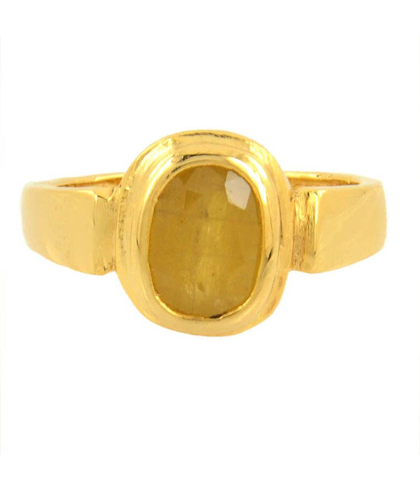 Barishh 8.25 Ratti Certified Pukhraj Ring For Astrology Purpose In Panchdhatu