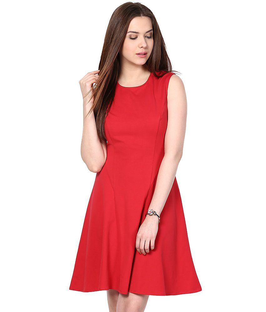 Besiva Red Cotton Dresses