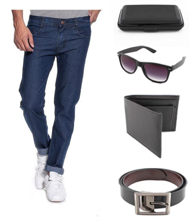 Keepsake Combo Of Mens Jeans With Wallet, Belt, Wayfarer Sunglasses & Cardholder