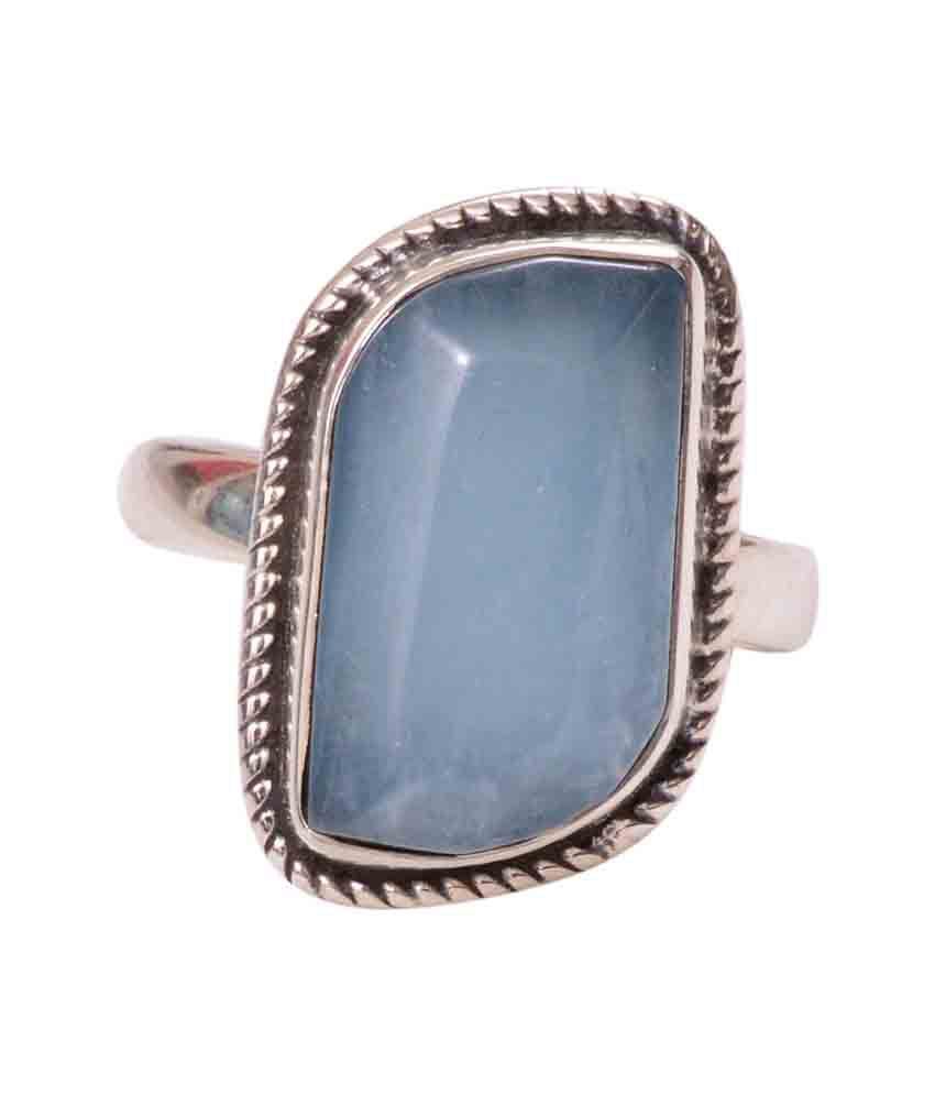 Rubera's Sterling Silver Ring With Cats Eye Aquamarine Stone