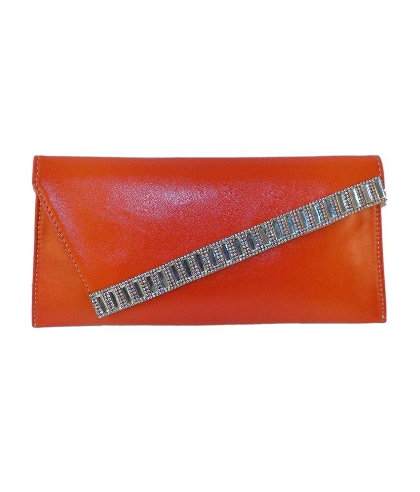 Crafts'man Elegant Looking Orange Color Women's Clutch With Stone Work