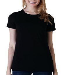 Zorba Mart Black Plain Round Neck Women T-shirt
