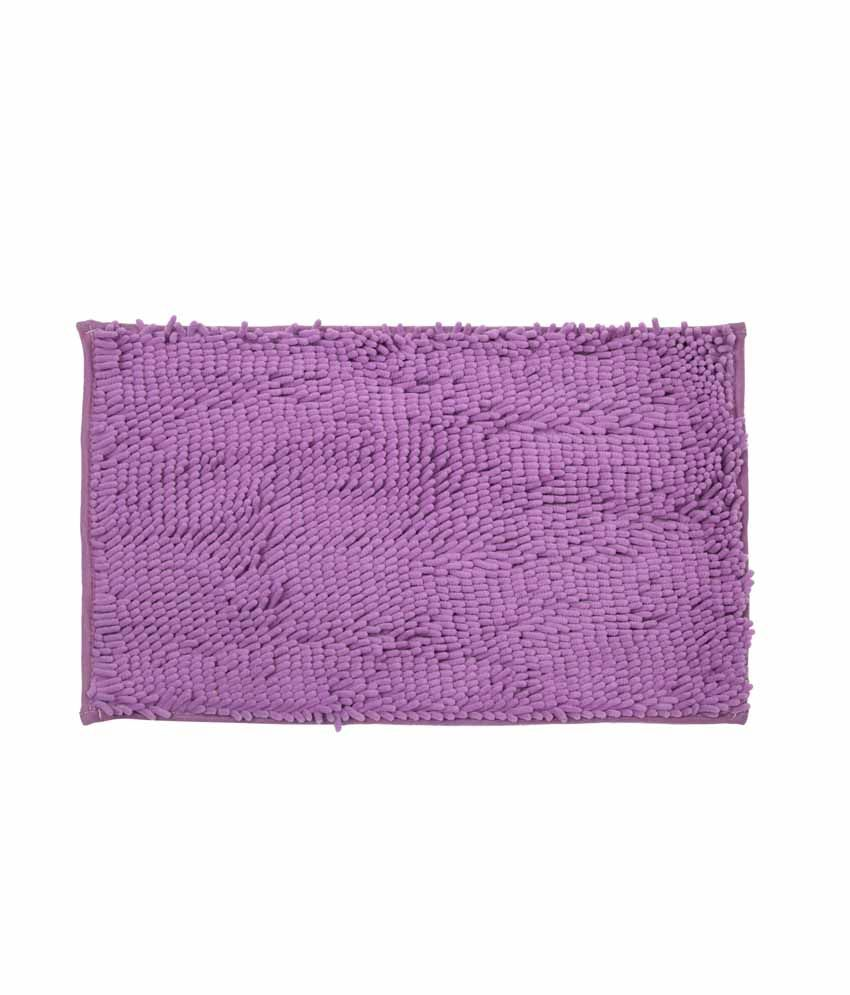 Just Linen Chenile Pom Pom Antiskid Purple Floor Mat