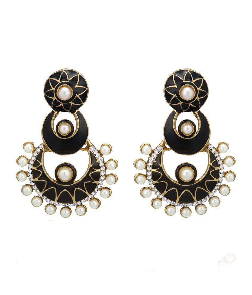 Zaveri Pearls Style Diva Black Coloured Bead Hanging Dangle Earrings