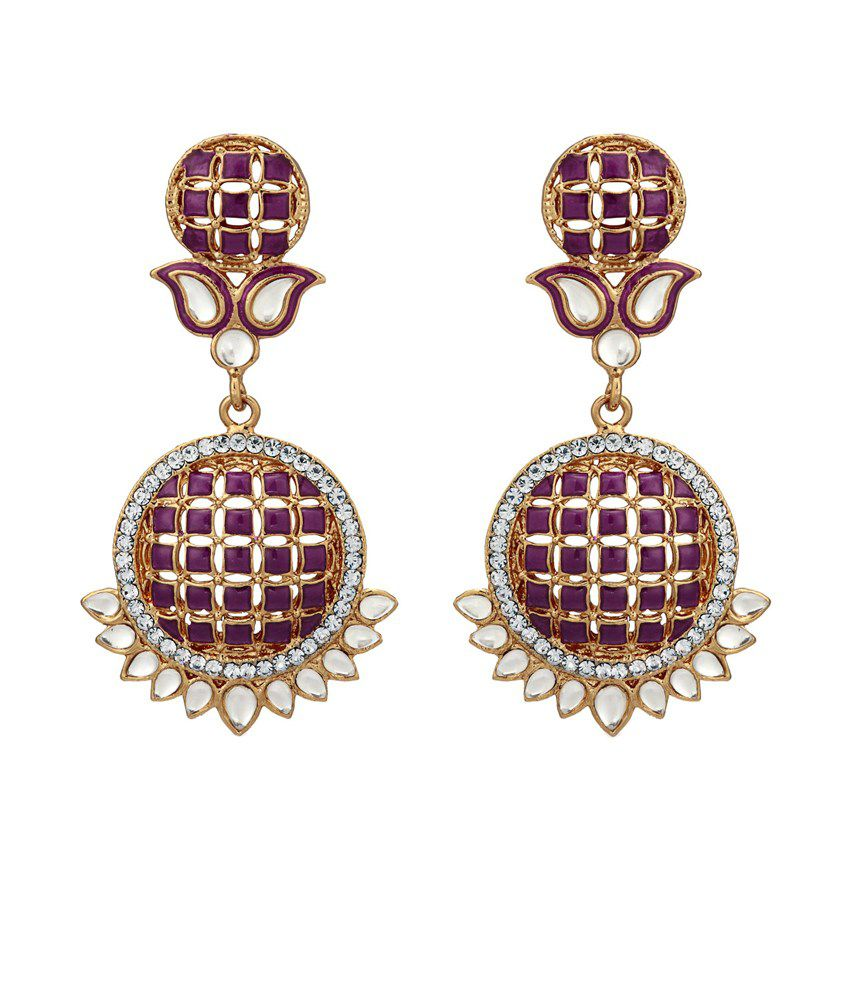 Zaveri Pearls Style Diva Purple Coloured Bead Hanging Dangle Earrings