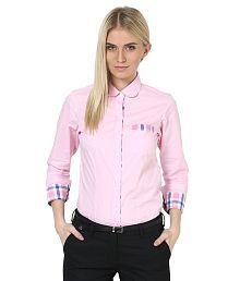 Dazzio Pink Cotton Shirts
