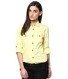Dazzio Yellow Cotton Shirts