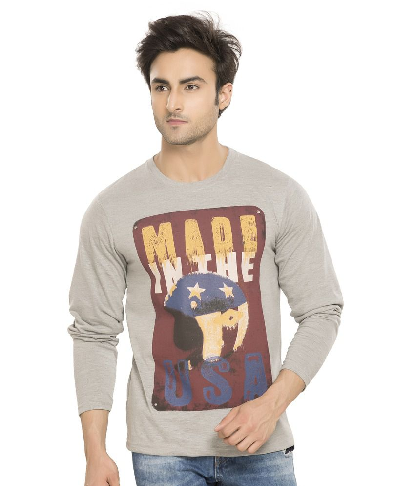 Alan Jones Gray Printed Cotton Round Neck T- Shirt