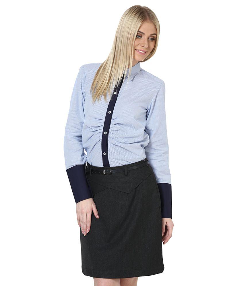 Buy Dazzio Blue Cotton Shirts Online At Best Prices In