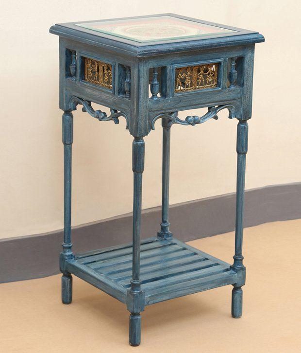 Exclusive Lane Modern End Cum Planter Table With Dhokra & Warli Work Cerulean Blue