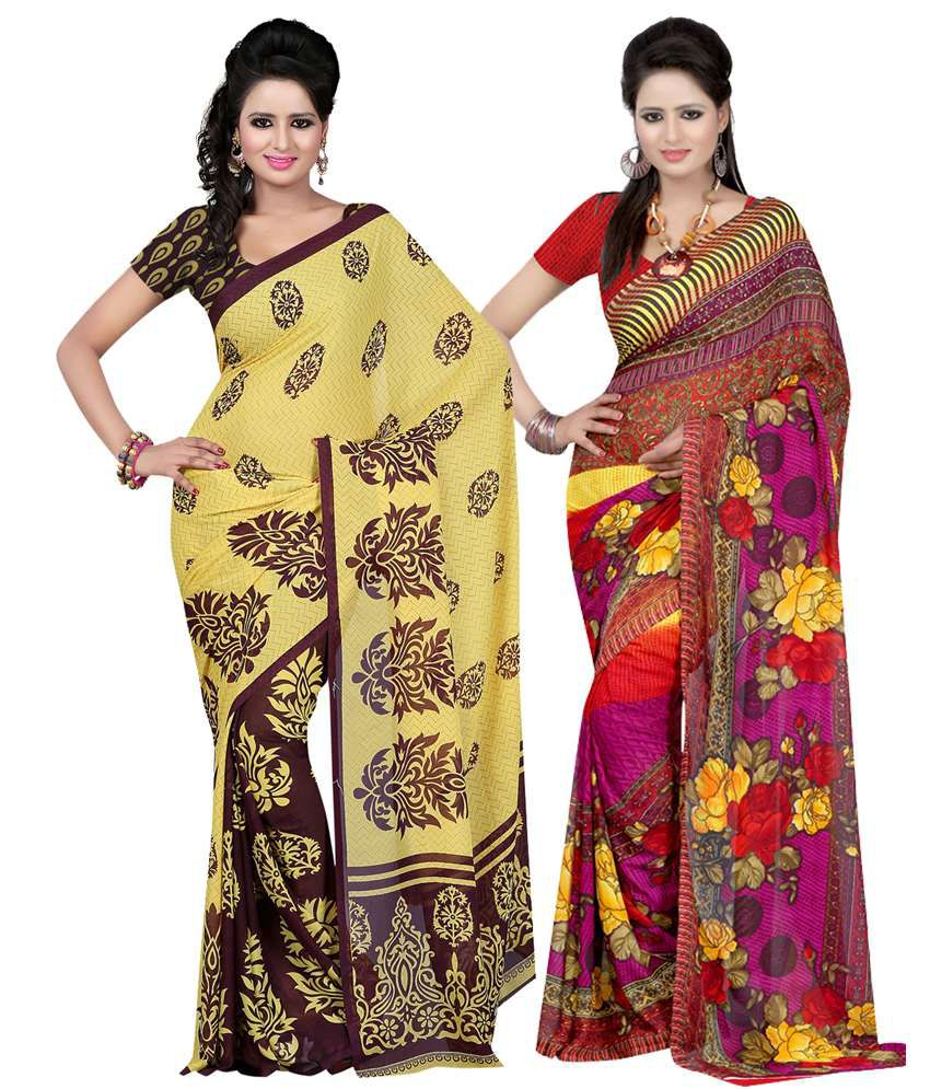 Kartik Pack Of 2 Faux Georgette Multi Color Saree