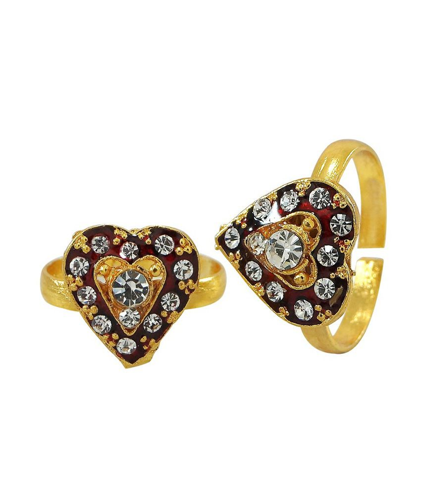 R S Jewels Heart Shape Gold Plated Cz Stone Enamel Toe Ring