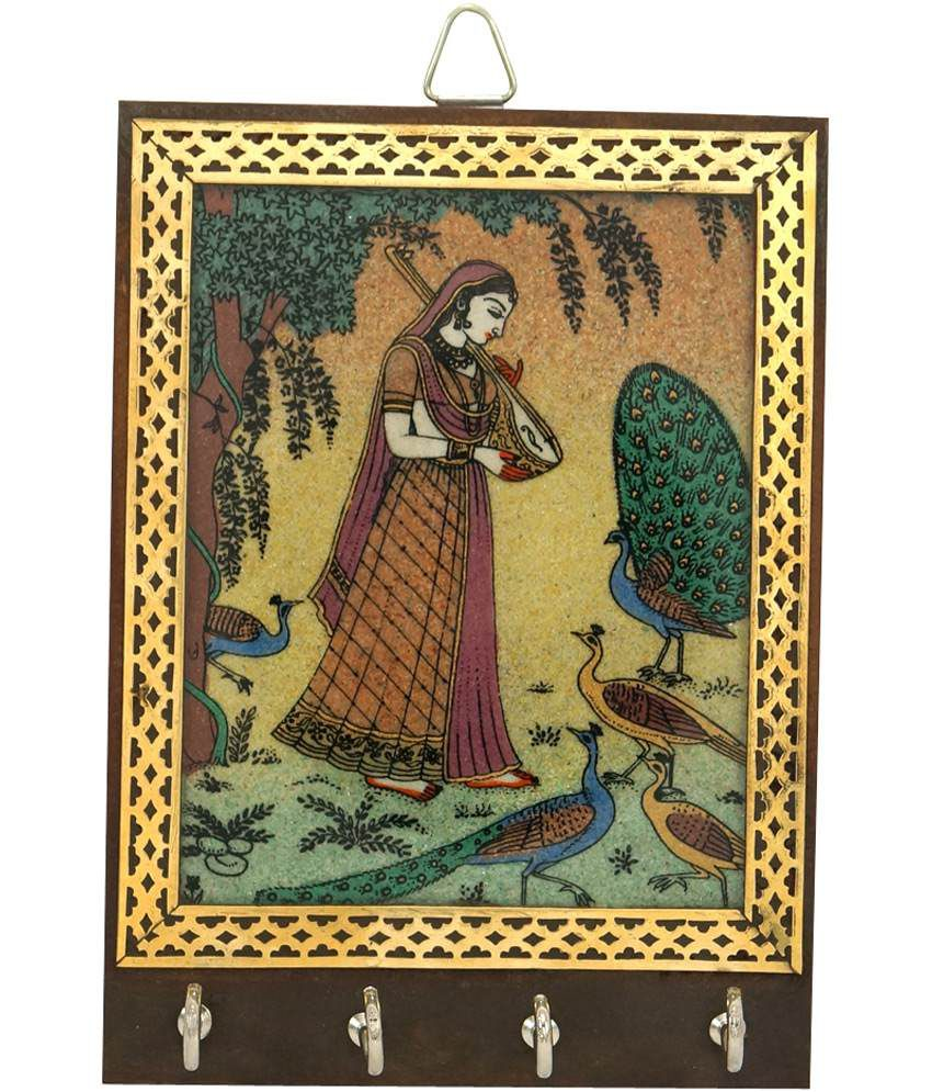 R S Jewels Rajasthani Mera Painting Key Hanger Wooden Handicrafts
