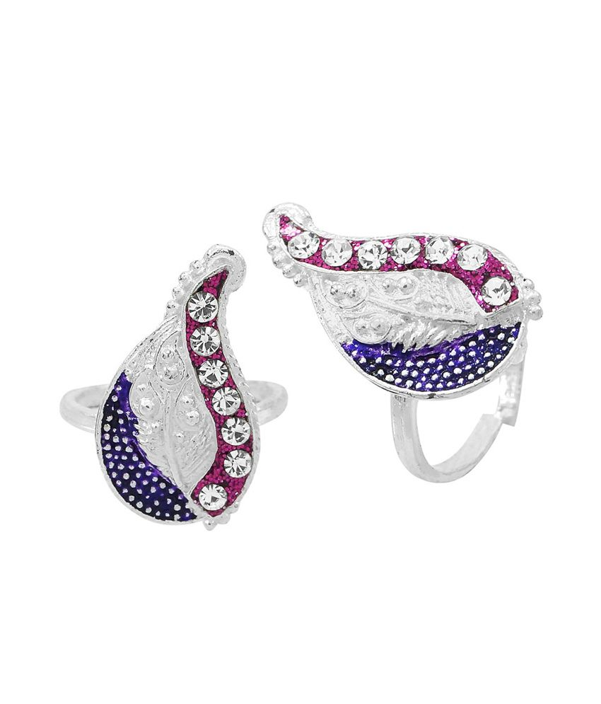 R S Jewels Silver Plated Cz Colour Spark Toe Ring
