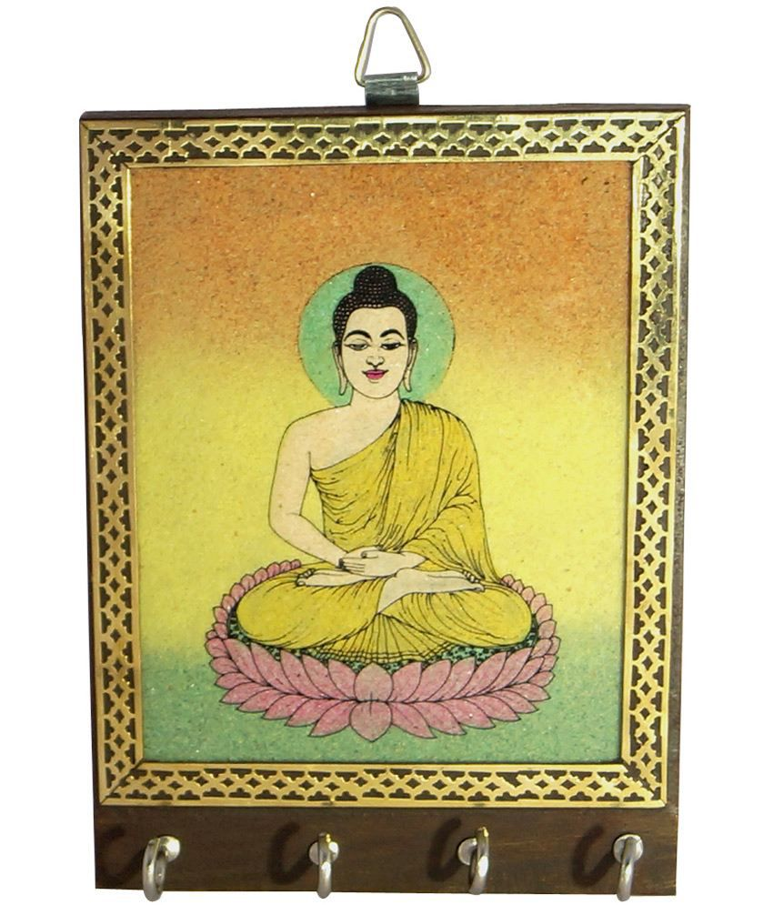 R S Jewels Wooden Gemstone Buddha Painting Key Holder