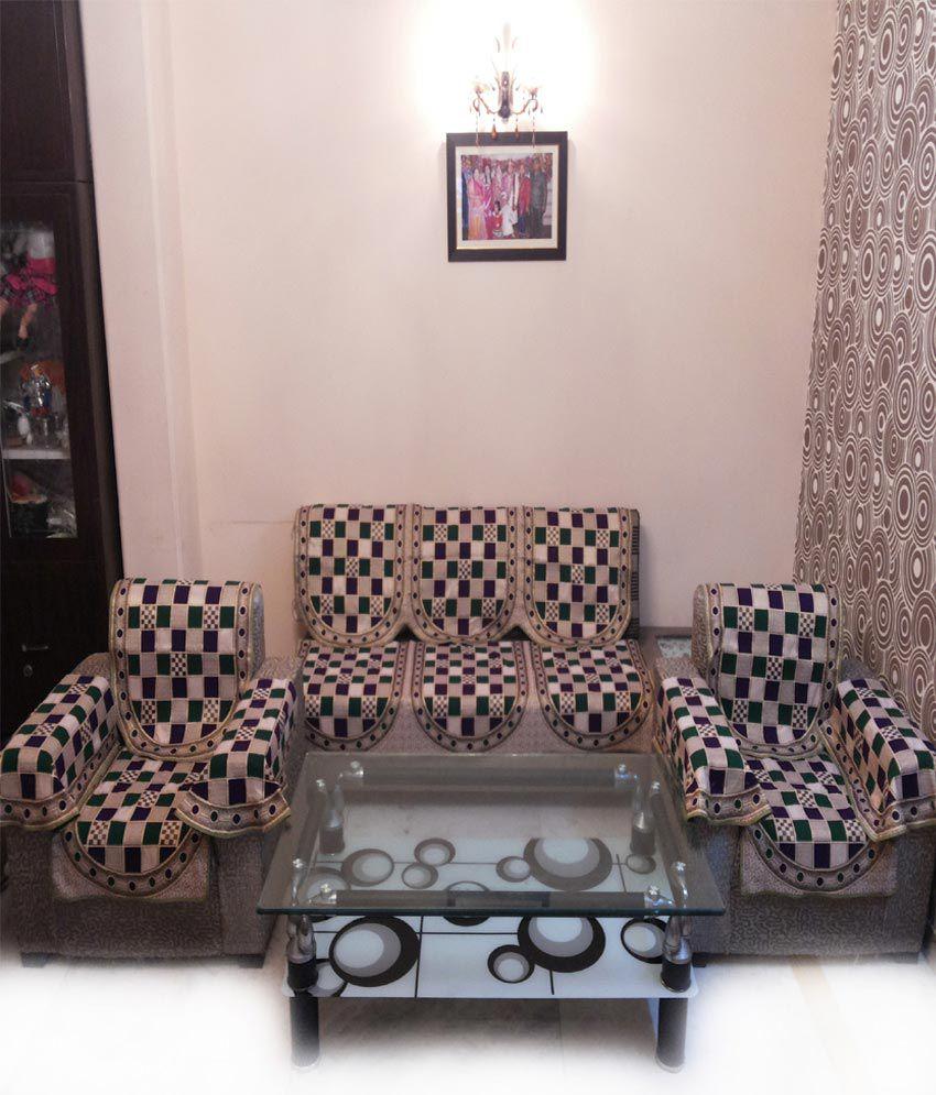 Shc Gold Check Green Sofa Cover Set With 6 Arms Buy Shc