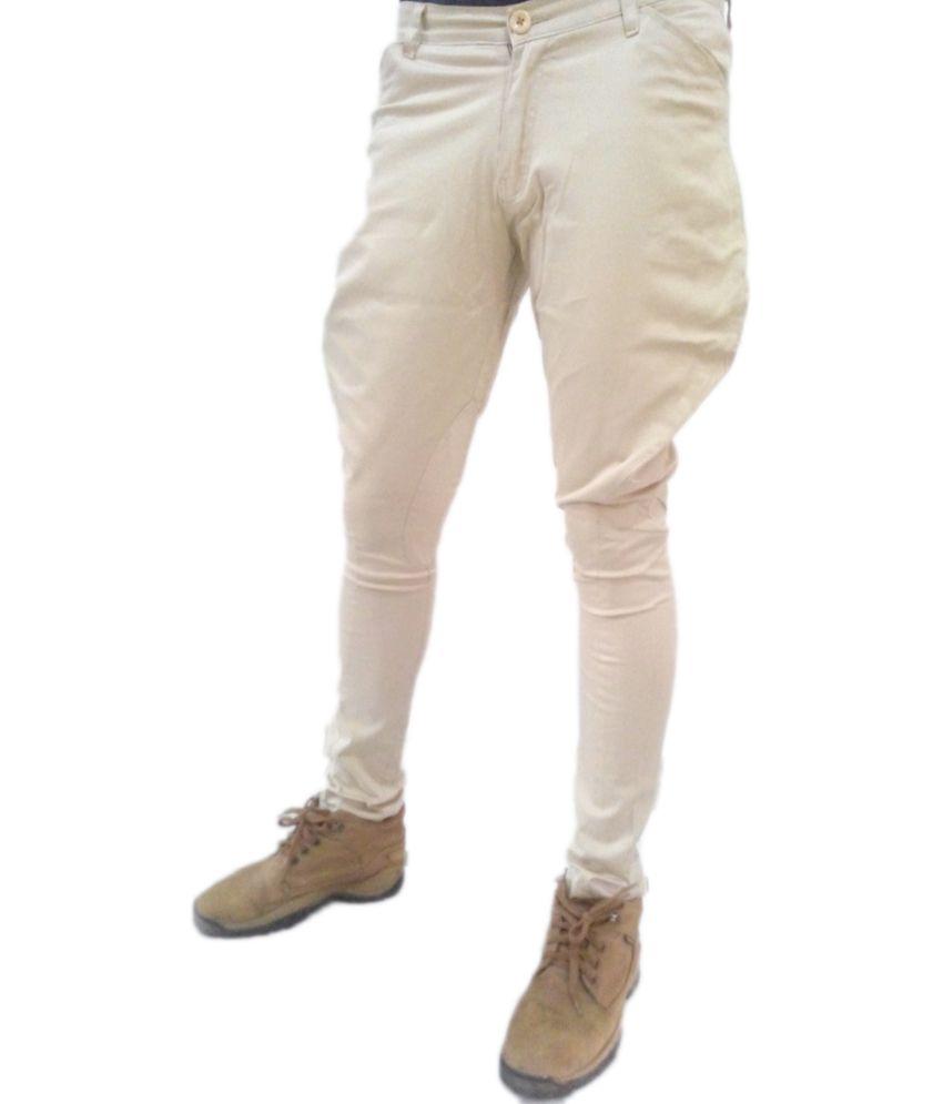 Vinay Collection Cream Slim Fit Jodphuri Polo Trouser