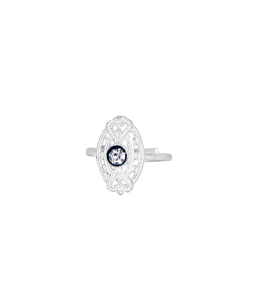 R S Jewels Silver Plated Sparkling Cz Ethnic Latest Style Toe Ring
