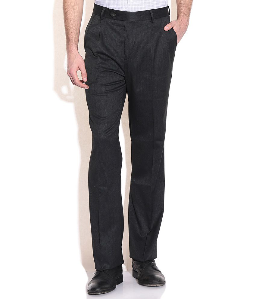Wills Lifestyle Gray Regular Fit Formal Trousers