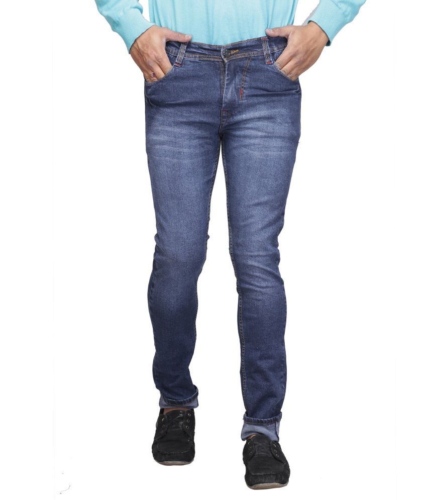 X-cross Blue Cotton Blend Faded Regular Fit Jeans