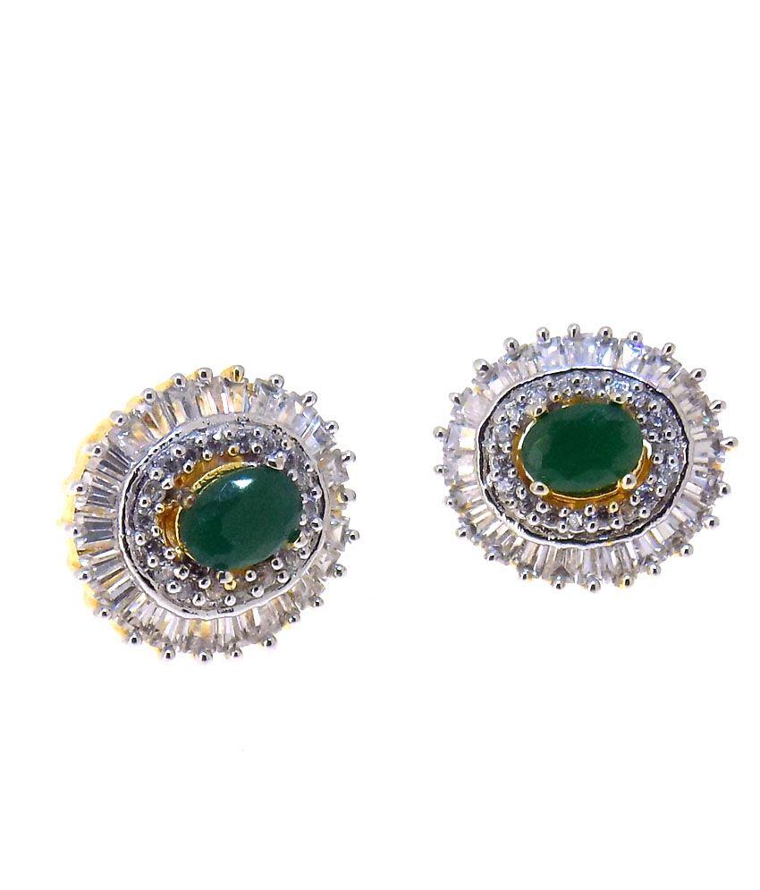 Aabhushan Jewels American Diamond Emerald Look Gold Plated Studs Earrings For Women