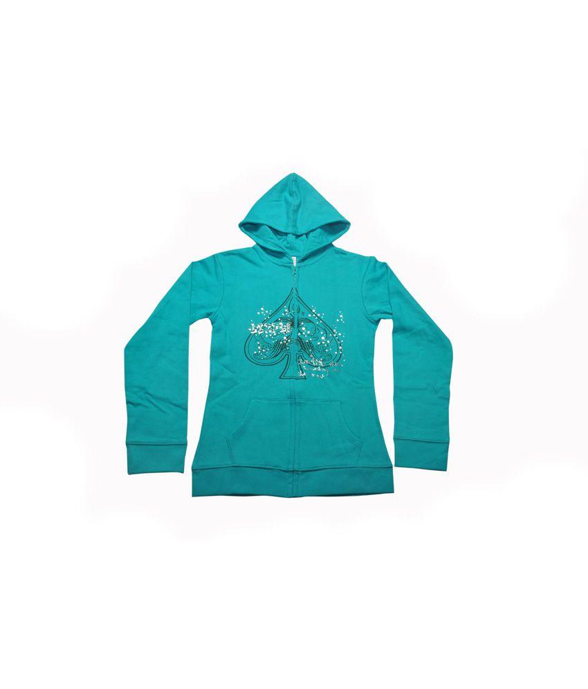 Bg Casual Green Cotton Hooded Sweatshirt For Girls