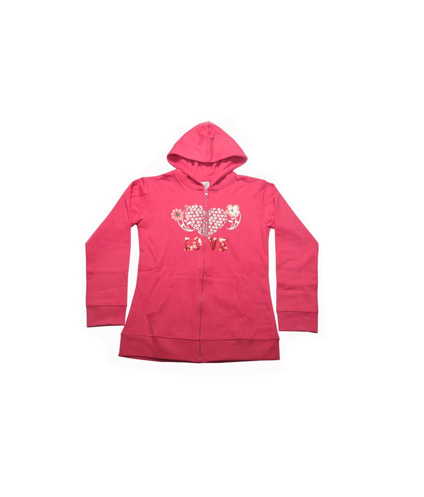 Bg Casual Pink Cotton Hooded Sweatshirt For Girls