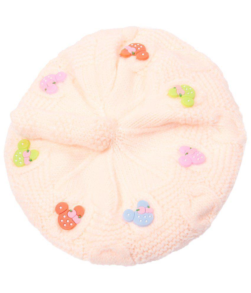 Bizarro.in Peachpuff Woollen Cap For Kids