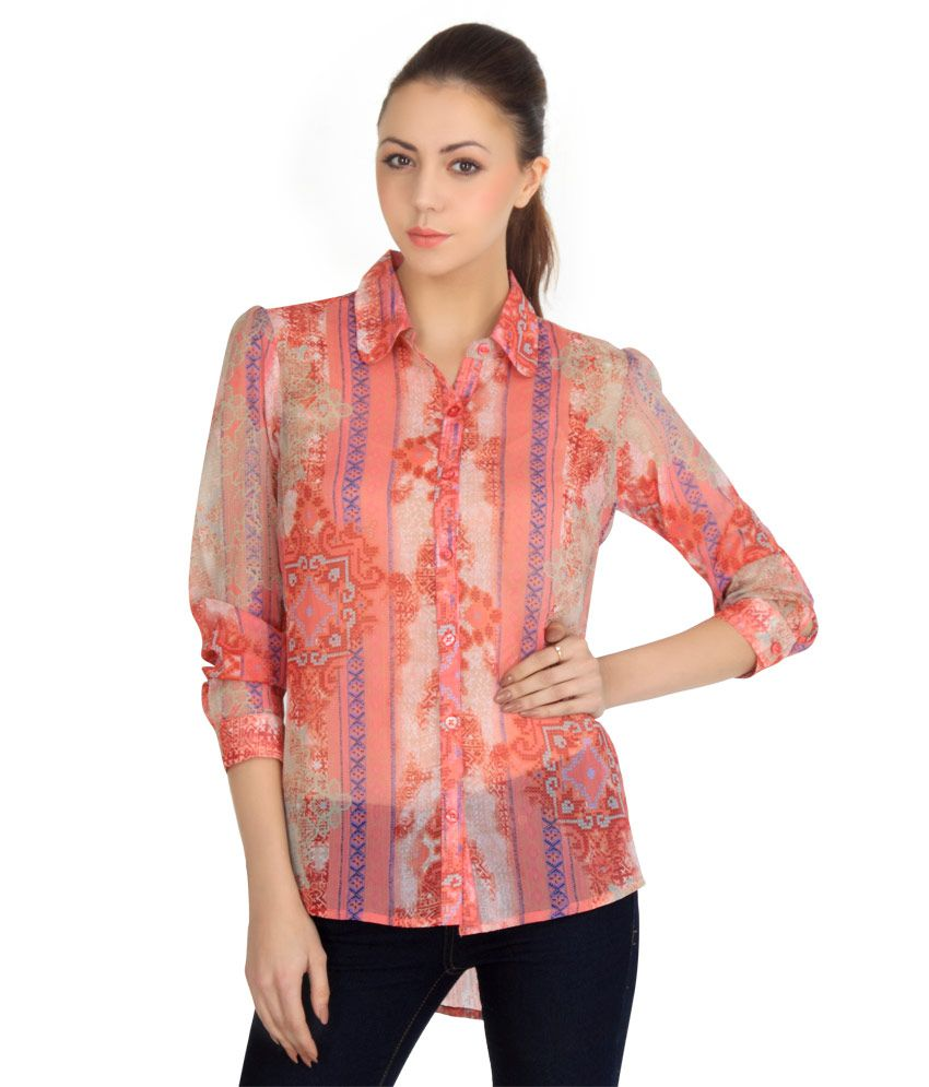 Faustina Pink Polyester Tops