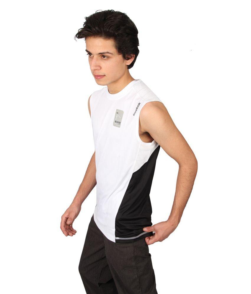 be041ec594e7bd Reebok White Polyester Sleeveless T-shirt - Buy Reebok White ...