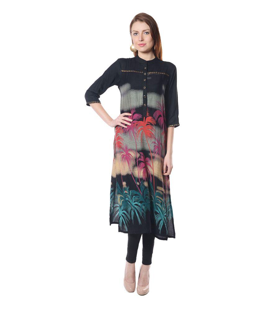 Shree Black Printed Poly Rayon Kurti
