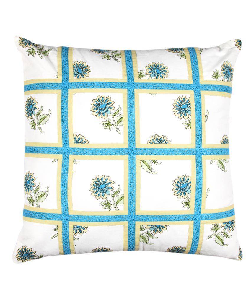 Zeus Blue Floral Cotton Cushion Cover