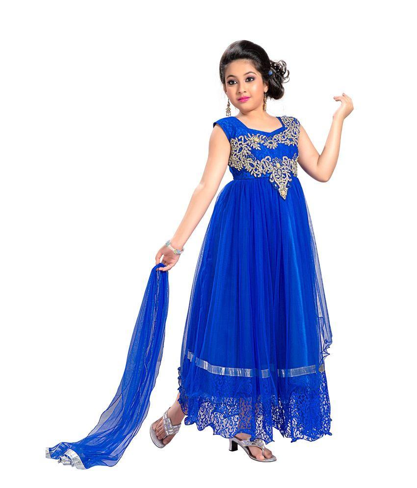 aarika blue party wear gown for kids buy aarika blue