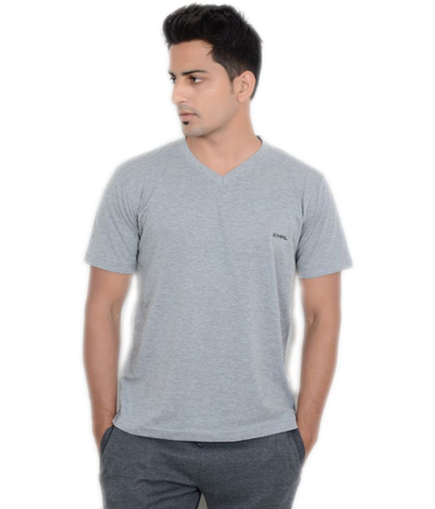 Happy Hours Gray Cotton V-neck Half Sleeves T-shirt