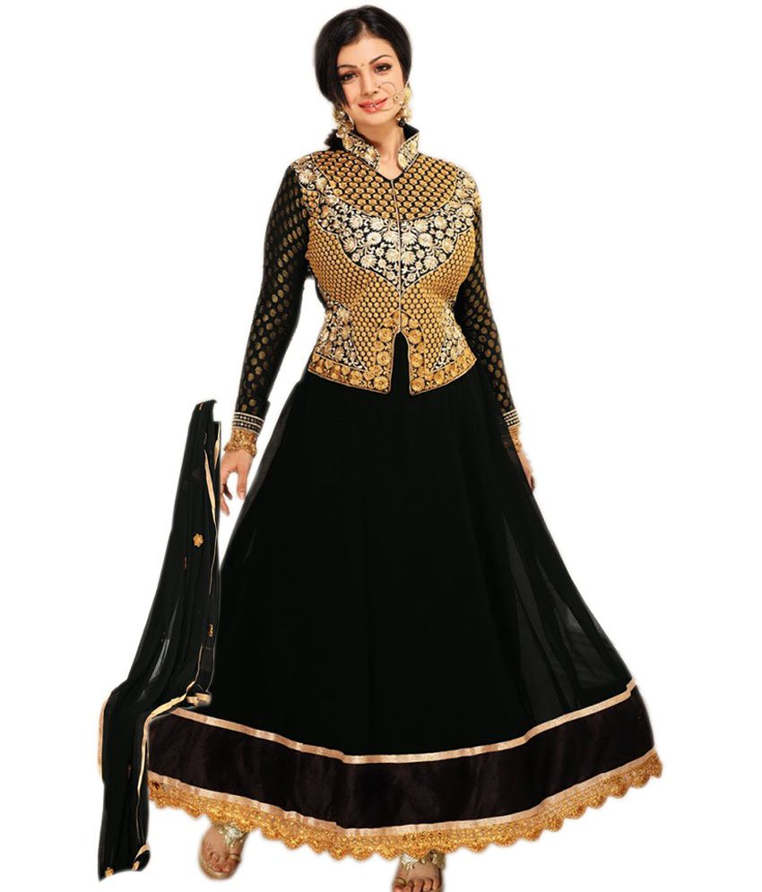 1c6ac7ec0a Khantil Black Faux Georgette Unstitched Dress Material - Buy Khantil Black Faux  Georgette Unstitched Dress Material Online at Best Prices in India on ...