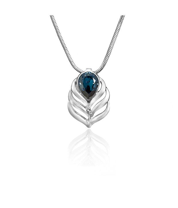 Mahi Drop Peacock Feather Swarovski Pendant With Chain
