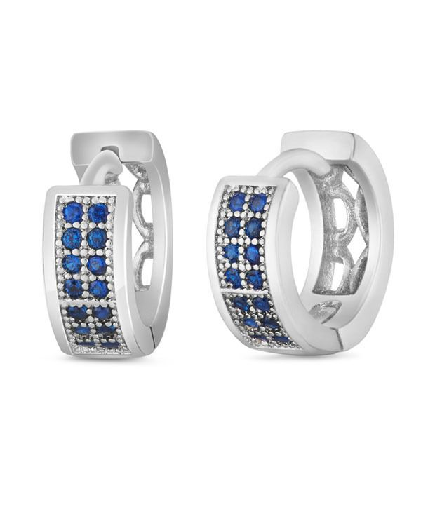 Mahi Rhodium plated Small Double line Blue CZ stone Huggies Hoops Earrings for Women ER1109318R