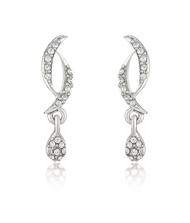 Mahi Rhodium plated Curves and Drops Earrings with Crystals for Women ER1191771RWhi