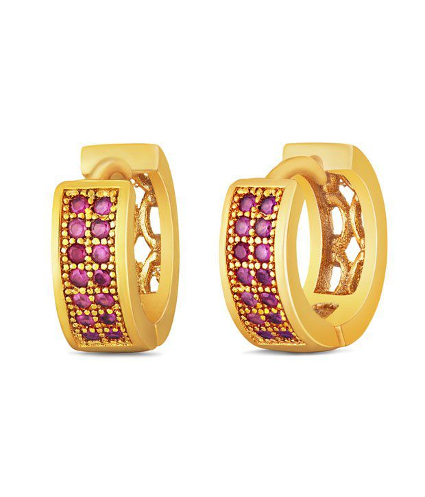Mahi Gold plated Small Double line Red CZ Stone Huggies Hoops Earrings for Women ER1109317G