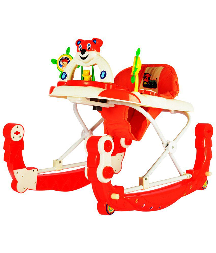 panda baby walker cum rocker height adjustable musical push handle red