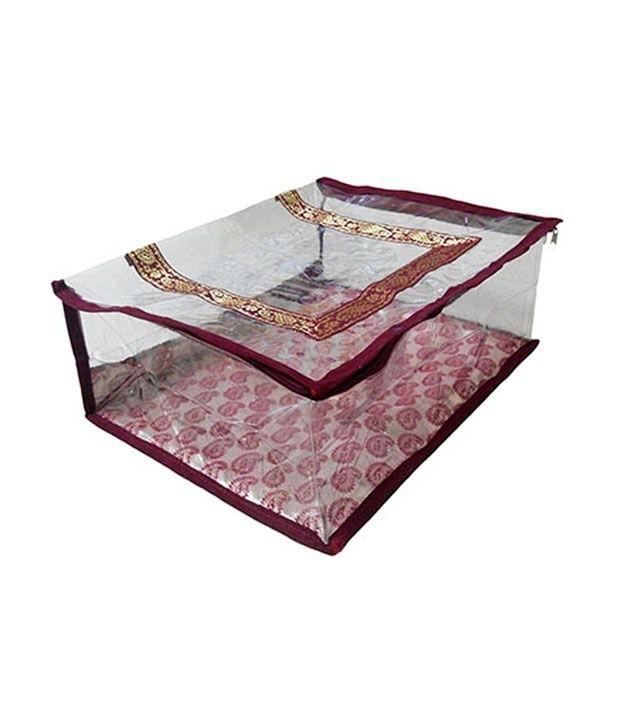 Pranil Maroon Aesthetically Designed Saree Cover - Upto 15 Pc
