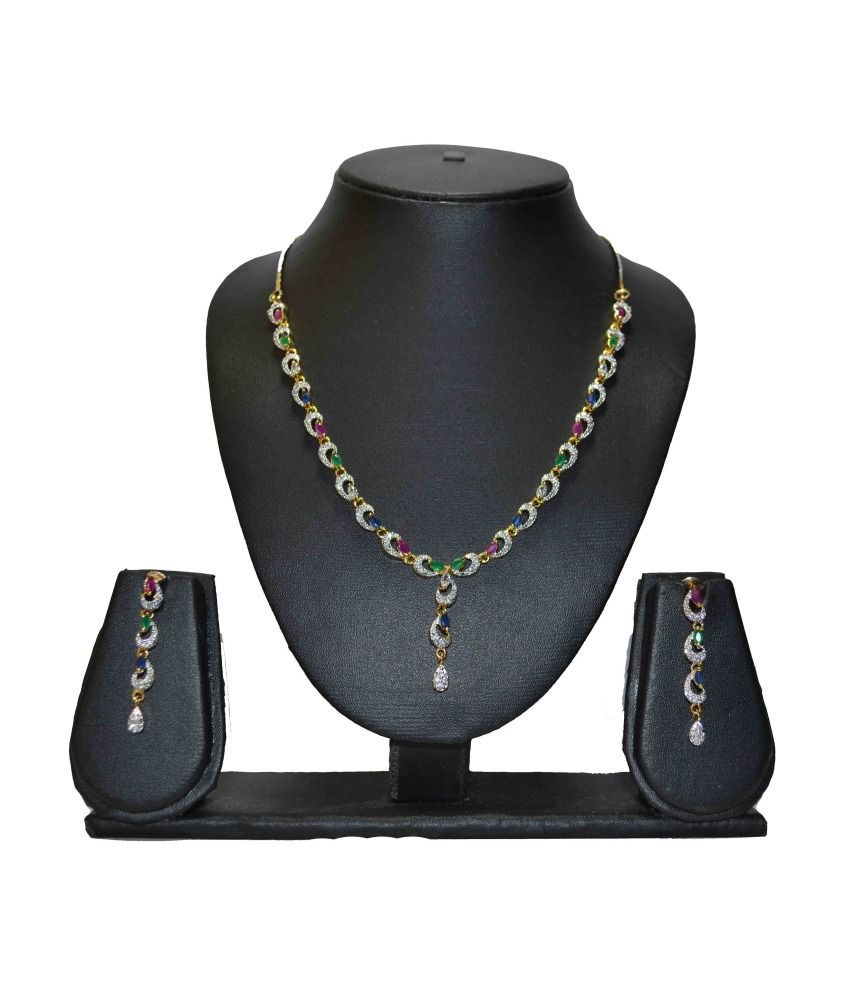 Chetan Classics Crystal Necklace Set With Multicoloured Stones