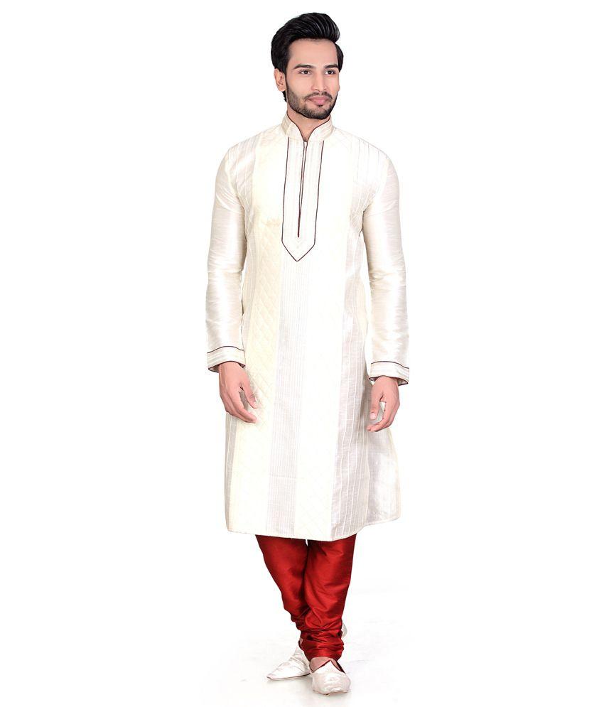 Fuzion Couture Cream Art Silk Regular Fit Kurta Pajama For Men