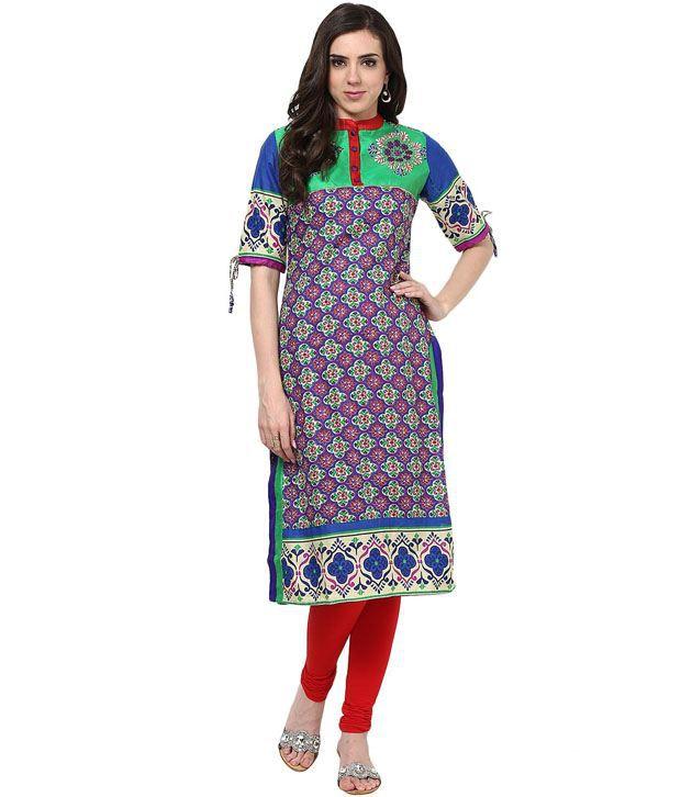 Prakhya Embroidered Green Half Sleeve Long Cotton Kurta